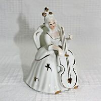 Victorian Lady Playing Cello Porcelain Figurine White Gold Accents 4 Inches Tall