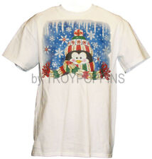 1-PENGUIN SCARF SNOWFLAKES WINTER CHRISTMAS PARTY WEAR GRAPHIC PRINTED T-SHIRT