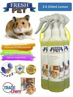 3 x 250ml FRESH-PET Rabbit Hutch and Cage Cleaner Guinea Pigs Hamster - LEMON