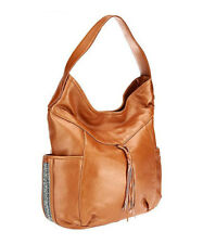 Muxo by Camila Alves Shimmer Leather Hobo Bag Purse w/ Bead Details Saddle NWT