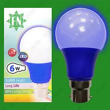 6x 6w LED AZUL de color Gls A60 LÁMPARA BOMBILLA BC B22, Bajo Consumo 110-