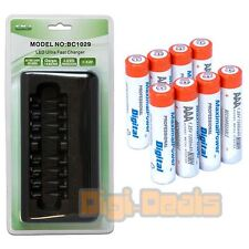 8x  AAA Ni-Mh 1200mAh RECHARGEABLE BATTERIES + 8-Port ULTRA FAST AA AAA CHARGER