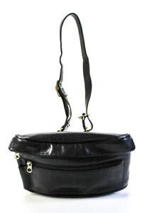 Coach Leather Gold Tone Waist Handbag Black Gold