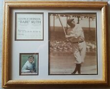 NY Yankee Babe Ruth Wood Framed Plaque Career Stats and Big League Chew Card