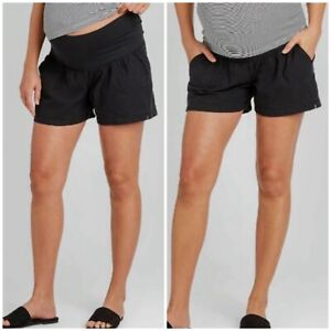 Isabel Maternity NWOT Pull-on Twill Linen Shorts Black Bellyband Size XXL Comfy