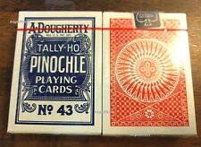 2 DECKS A. DOUGHERTY TALLY-HO PINOCHLE PLAYING CARDS #43 LINOID FINISH OHIO MADE