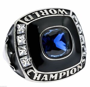 World Champion Men's Ring Blue Sapphire Simulated Stainless Size 10 TK2665 T40
