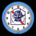 """19"""" Pabst Blue Ribbon PBR Beer Blue Double Neon Clock Chrome Finish"""