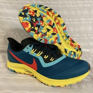 Nike Air Zoom Pegasus 36 Trail Running Shoes AR5677 Geode Teal Red Yellow 14