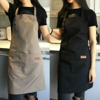 Women Cooking Kitchen Restaurant Cafe Uniforms Canvas Apron Dress with Pocket