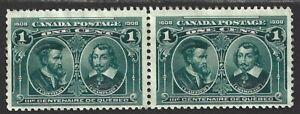 Canada #97 1908 Quebec Tercentenary Issue Horizontal Pair