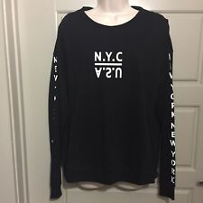 Divided By H&M SHirt Long Sleeve Size L Black Letters On Sleeves