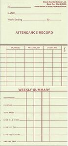 CC100 / CETR50W  Weekly Time Cards / Clocking Cards (Box of 1000)