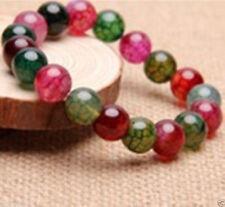 Fashion Natural 8mm Multicolor Dragon Veins Agate Round Gems Stretchy Bracelet
