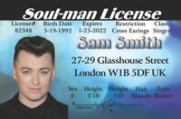 Soul Man Sam Smith LONDON ENGLAND  Drivers License FAKE ID card