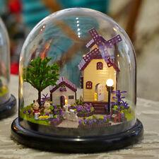 Mini Glass DIY Wooden Dollhouse Kit &LED light / Provence English manual