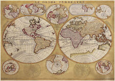 A4 Poster - Vintage Grainy Old Nautical Map of the Globe (World Picture Art)