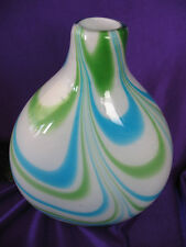 "8 1/4"" Art Glass Swirl Blue & Green Vase with Pontil Mark on Bottom"