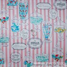 BonEful Fabric Cotton Quilt Pink White Blue Girl Candy Birthday Sweet 16 L SCRAP