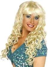 da donna sirena Pop Star ricci parrucca bionda da carnevale Nuovo Da Smiffys
