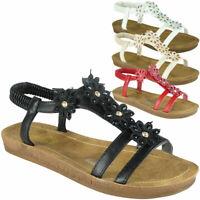 Womens Ladies Flat Elastic Strap Bling Comfy Summer Peeptoe Sandals Shoes Sizes