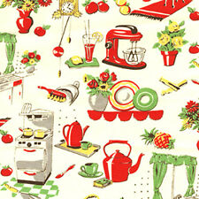 Michael Miller FIFTIES KITCHEN Atomic Mid Century Style Kitchen Fabric - Cream