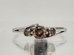 0.51Ct Sparky Eye-Clean Champagne Natural Diamond Ring Sterling Silver See Video