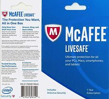NO BOX McAfee LiveSafe 2017-18 1yr family all access PCs Macs Android iOS retail