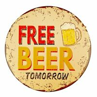 "Free Beer Vintage Funny Rustic Metal Tin Sign 12"" x 12"""