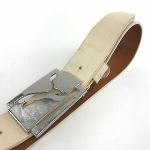 Puma Off White Leather Classic Casual Jeans Trouser Golfing Belt Size L / 100cm