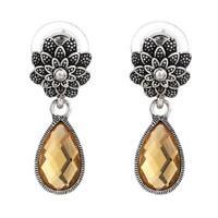 Brass Ohrringe antik silberfarben Blume Stein Anhänger braun orange
