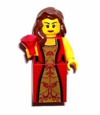 LEGO CASTLE QUEEN GIRL MINIFIGURE Red/Gold/Dress/Jewel/Brown Hair