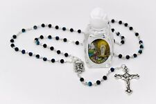 Bottle of Lourdes Blessed Holy Water & Black Crystal Rosary Beads Catholic Gift