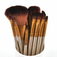 Kit 12Pcs Professionnel Maquillage Pinceaux Brosse Or Cosmétiques Set de Trousse