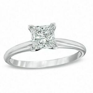 0.55 Ct Princess Cut in Solid 14K White Gold Solitaire Engagement & Wedding Ring