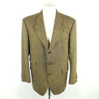 Toyner Tweed Sakko Herren Gr. 26 Braun Wolle Lederknöpfe Tailormade Jacke