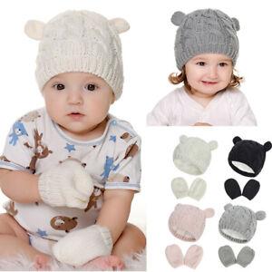 Boys Girls Warm Beanie Knitted Winter 0-18 Months Baby Hats Gloves Set Thicken