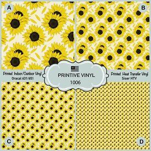 Sunflower Patterned Iron on, Heat Transfer Vinyl, Adhesive Vinyl 1006