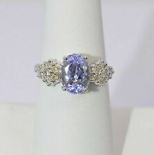 14k White Gold Diamond and Tanzanite Ring Size 7.5