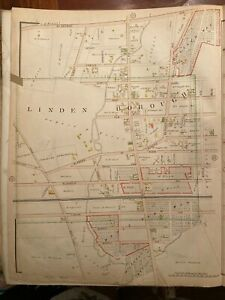 Linden NJ Borough ca1903 linen town Map from Atlas of Union County 17x23 in