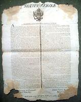 1800 GOVERNO PROVVISORIO DI ANCONA. RARO BANDO SU TRIBUNALI TORTURE ESECUZIONI..