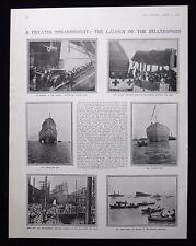 LAUNCH OF HMS BELLEROPHON ROYAL NAVY SHIP BATTLESHIP 1pp PHOTO ARTICLE 1907