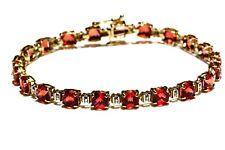 "10k yellow gold created orange sapphire gemstone 7 1/4"" tennis bracelet 9.2g"