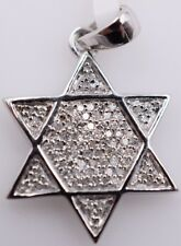 14K White Gold & Diamond Star of David Pendant