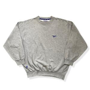 Vintage Reebok Sweatshirt | Large L | Grey Pullover Jumper Embroidered Logo