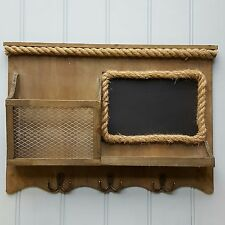 Wall Wooden Message Board Storage Hooks Rustic style Unit