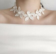 Women Chain White Charm Gothic Statement Collar Choker Necklace Lace Pearl New