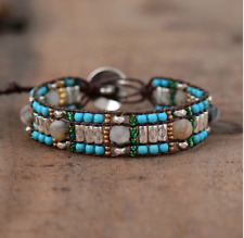 Natural Beaded Wrap Cuff Bracelet, Cord Oblong Turquoise Amazonite, Seed Beads