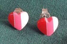 pierced ear earrings 3 color Heart Shaped post pair of
