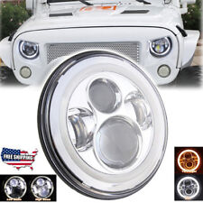 7'' Round LED Halo Angel Eyes Headlight Lamp DRL Light For Jeep Wrangler Harley
